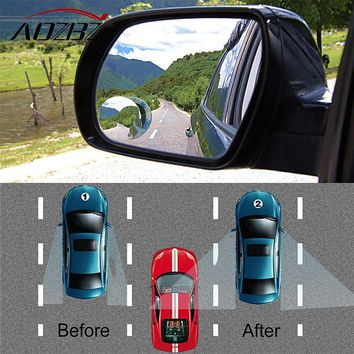 AOZBZ Car Rear View Mirror 360 Rotating Wide Angle Blind Spot Mirror Round Convex Parking Mirror Auto Exterior Accessory