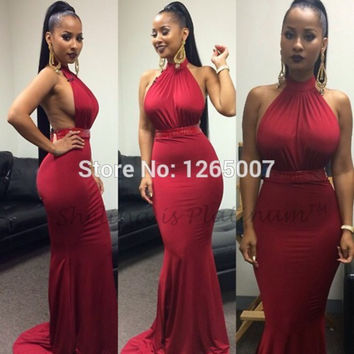 New Arrival Halter Open Back Slim Fitted Long Red Mermaid Prom Dresses Sexy Women Maxi Formal Party Gown