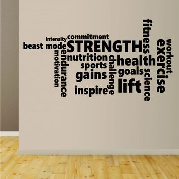 Fitness Words Gym Wall Decal Sticker Bedroom Living Room Art Vinyl Lift Weights Work Out Gainz Health Fitness Running