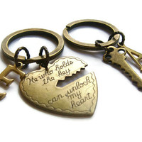 Personalized Key To My Heart Keychains ~ Couples Keyring Set, He Who Holds The Key, Mr Mrs Jewelry, Boyfriend Girlfriend Gift, Heart and Key