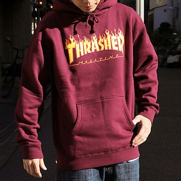 Thrasher New fashion bust flame print couple hooded long sleeve sweater top Burgundy