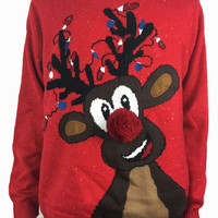 Lights Up Rudolph the Red Nosed Reindeer Pattern Ugly Christmas Sweater