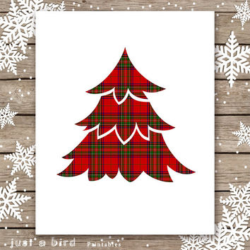 Red Tartan Christmas PRINTABLE, Red Plaid Christmas wall art, Red Christmas tree decor, Holiday print, Red Stuart, Royal Stewart Plaid, Xmas