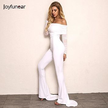 Joyfunear New Autumn Off Shoulder Sexy Rompers Womens Jumpsuit Women Cotton Black Off White Flares Long Sleeve Jumpsuits Overall