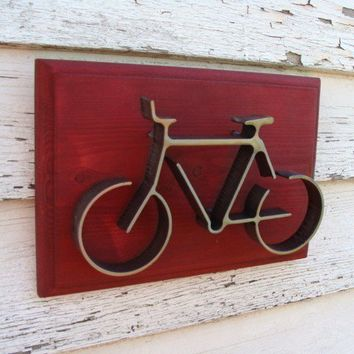 Iron Bike Sculpture on Wood Frame