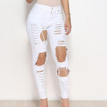 High Waist Trim Stretch Hole Tear Personality Jeans Street Casual Women Skinny Pencil Bleached Washed Denim Pants Ripped Elastic