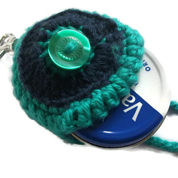 Green & Navy Keyring/Keychain Vaseline Tin Holder. Round Lip Balm Holder, Women, Bag Accessories, Gift Idea,