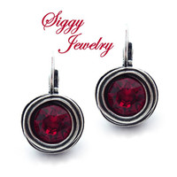 Swarovski® Crystal Earrings, 8mm Siam or Ruby Red, Drop Lever Back, Swirl Bezel Setting, Antique Silver Finish, Select Your Favorite Red