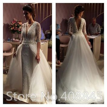 Vintage Beaded Sequins Half Sleeve Sheath Wedding Dress with Detachable Train Romantic Lace Wedding Dresses 2015 robe de mariage
