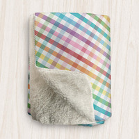 Rainbow Gingham Sherpa Fleece Blanket - Colorful Gingham and White Pattern - 2 sizes available - Made to Order