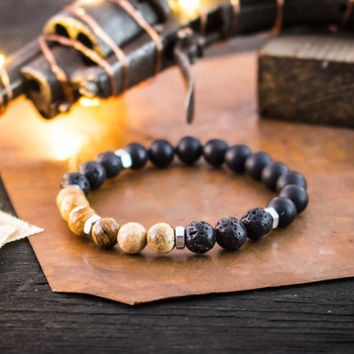 8mm - Jasper stone, lava stone and matte onyx beaded stretchy bracelet, made to order yoga bracelet, mens bracelet, womens bracelet