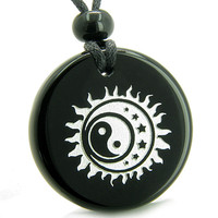 Amulet Sun Moon Stars Triple Magic Yin Yang Positive Powers Black Agate Pendant Necklace