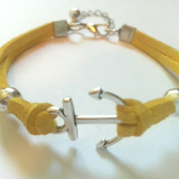 Anchor Bracelet, Faux Suede Anchor Bracelet for Women & Girls feat. Wire Wrapped Bead Dangle - Choose Your Color!