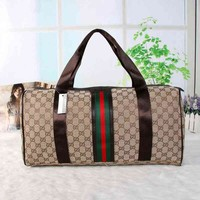 Gucci Trending Unisex Stripe Letter Print Print Travel Luggage bag Leather Shoulder Bag Satchel Handbag I