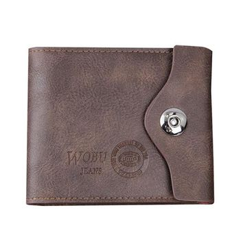 PU Leather Bifold Wallet 6 Card Slots Casual Vintage Card Pack Coin Bag Purse For Men
