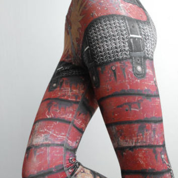 Armour Leggings - Size S Red - Printed Chainmail and Metal Tights - Armor plate look
