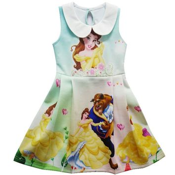 Bibihou 2017 Beauty and Beast Movie Cartoon Summer Dress Belle cosplay Costumes For Girls Party Kids Children Christmas Dress