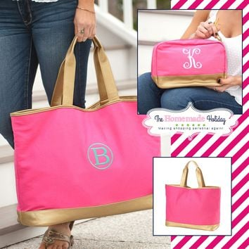 Pink and Gold Cabana Tote with matching Make Up Bag