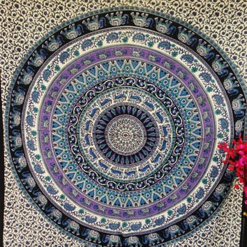 Round Elephant tapestry,Tapestry Wall Hanging,Mandala Tapestries, Mandala Wall Art, Hippie Wall Hanging, Indian Tapestry, Bohemian Tapestry