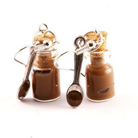 Glass JARS with NUTELLA and SPOON polymer clay and bottles earrings