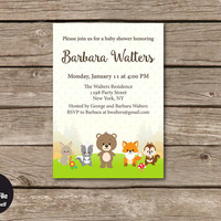 Woodland Baby Shower Invitation, Personalized Printable Party Invite, Forest Animals, Gender Neutral, Baby Boy And Girl, Fox, Bear, Rabbit