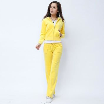 Juicy Couture Pure Color Velour Tracksuit 6047 2pcs Women Suits Yellow