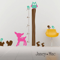 Wall Decal Growth Chart Woodland Wall Set Fawn by JaneyMacWalls