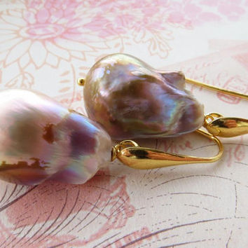 Mauve baroque pearl earrings, italian sterling silver 925 gold plated 18 k, wedding jewelry, bridal jewels Made in Italy Sofia's Bijoux