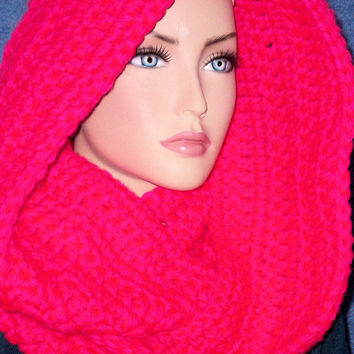 Neon Pink Infinity Scarf Crochet Chunky With Hot Neon Pink Yarn Eternity Handmade Loop Circle Scarf