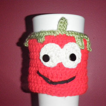 Bob the tomato coffee cozy, cup cozy, crochet cozy Eco-Friendly