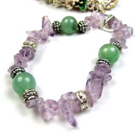 Amethyst and Chalcedony Quartz Stretch Bracelet Retro Vintage Jewelry