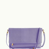 GiGi New York Carly Convertible Clutch Meadow Lilac Embossed Python Leather