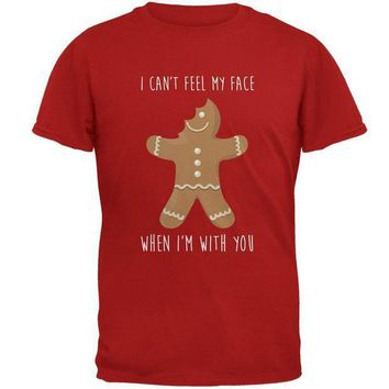 PEAPGQ9 Christmas Gingerbread Man Can't Feel My Face Mens Soft T Shirt