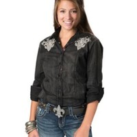 Roar® Women's Patron Saint Black with Pink Lace and Silver Embroidery Long Sleeve with Tabs Western Shirt