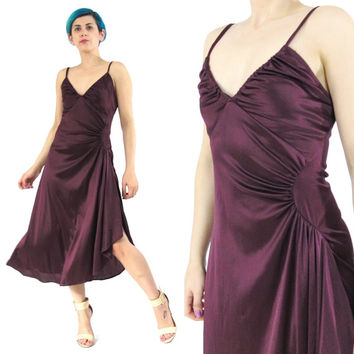 70s Grecian Draped Dress Wine Draped Dress Spaghetti Straps Merlot Wrap Dress Party Evening Dress Sexy Purple Prom Disco Dress (XS/S/M)