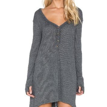 Gray V-Neck Long Sleeve Loose Dress