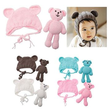 DCCKL3Z Hot! Newborn Baby Girl Boy Photography Prop Photo Crochet Knit Costume Bear +Hat Set