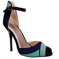 Qupid - Colorblock Peep Toe Heel