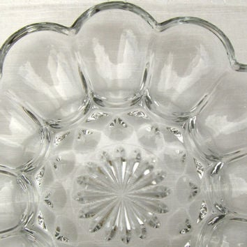 Vintage Deviled Egg Server Anchor Hocking Fairfield Clear Glass Plate
