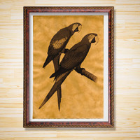 Bird print Parrots poster Rustic decor