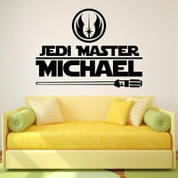 Star Wars Name Wall Decal Jedi Master Personalized Stickers Quote Children Kids Teens Boys Room Bedroom Dorm Star Wars Art Home Decor Q190