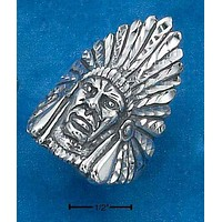 Sterling Silver Ring:  Mens Indian Head Ring