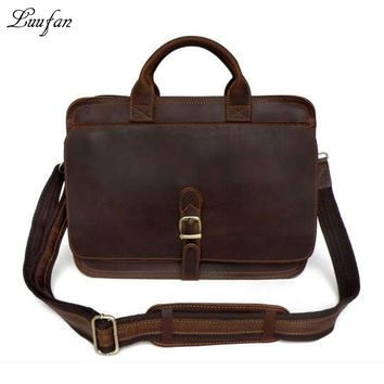 Men's genuine leather briefcase Laptop messenger bag real leather work tote bag Double layer Cow leather Business bag