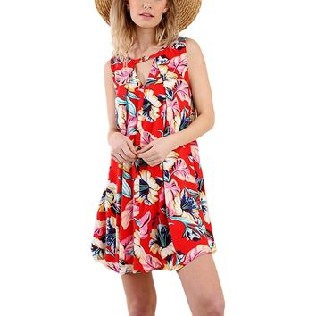 Floral Print Sleeveless Shift Keyhole Dress with Button Neckline Closures, Red Mix