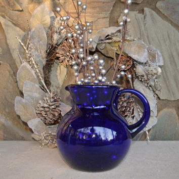 Vintage Cobalt Blue Glass Pitcher, Elegant Handblown Glass, Vintage Blue Glass Pitcher