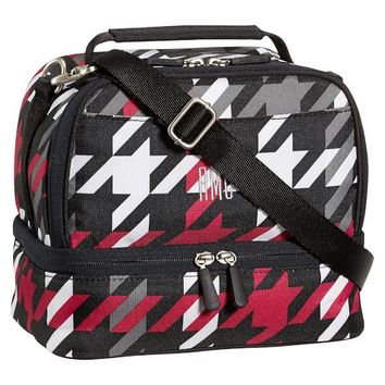 Gear-Up Red Houndstooth Dual Compartment Lunch