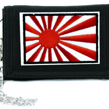Japanese Rising Sun Tri-fold Wallet w/ Chain Anime Clothing