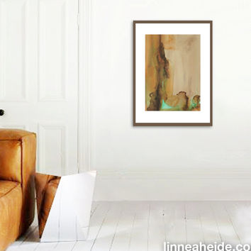Large Watercolor Painting - original abstract fine art - abstract expressionism - brown beige tan green - earthy