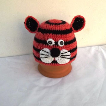 Crochet tiger hat, Halloween hat, Halloween, Tiger hat, animal hat, crochet baby hat