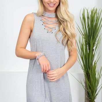 Simple Eyelet Lace-Up Dress | Neutrals